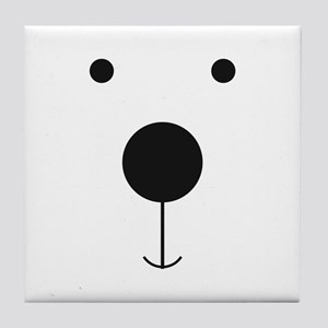 Minimalist Polar Bear Face Tile Coaster