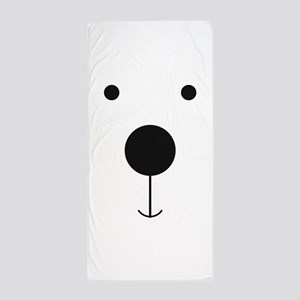 Minimalist Polar Bear Face Beach Towel