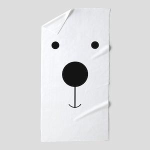 Minimalist Polar Bear Face Beach Towel