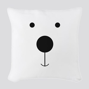Minimalist Polar Bear Face Woven Throw Pillow