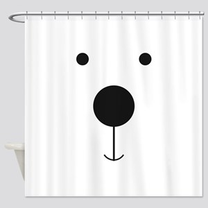 Minimalist Polar Bear Face Shower Curtain