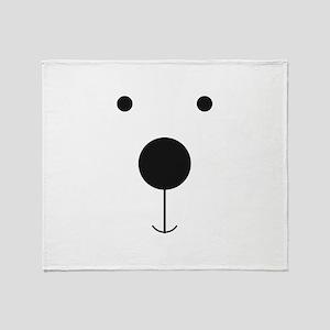 Minimalist Polar Bear Face Throw Blanket