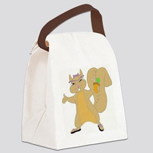 Party Time Squirrel Girl Canvas Lunch Bag