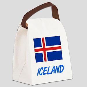 Iceland Flag Artistic Blue Design Canvas Lunch Bag