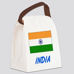 India Flag Artistic Blue Design Canvas Lunch Bag