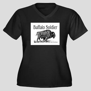 BUFFALO SOLDIER Women's Plus Size V-Neck Dark T-Sh
