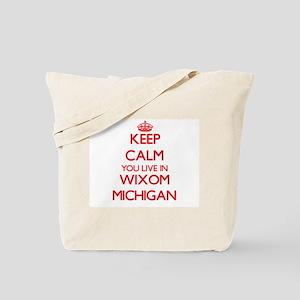 Keep calm you live in Wixom Michigan Tote Bag