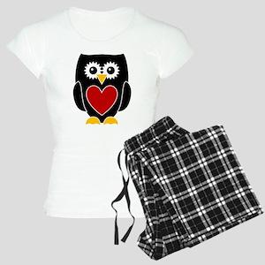Black Owl With Red Heart Women's Light Pajamas