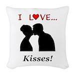 I Love Kisses Woven Throw Pillow