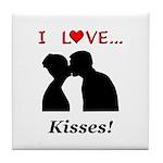 I Love Kisses Tile Coaster