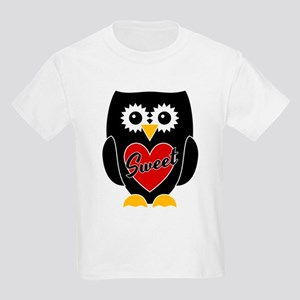 Sweet - Black Owl / Red Heart Kids Light T-Shirt
