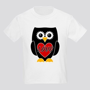 Love - Black Owl With Red Heart Kids Light T-Shirt