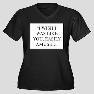 EASILY AMUSED Women's Plus Size V-Neck Dark T-Shir