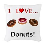 I Love Donuts Woven Throw Pillow