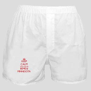 Keep calm you live in Bemidji Minneso Boxer Shorts