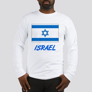 Israel Flag Artistic Blue Desi Long Sleeve T-Shirt