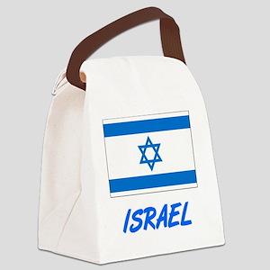 Israel Flag Artistic Blue Design Canvas Lunch Bag