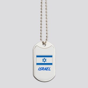 Israel Flag Artistic Blue Design Dog Tags