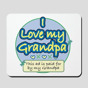 I Love My Grandpa - Blue Mousepad