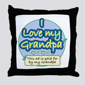 I Love My Grandpa - Blue Throw Pillow