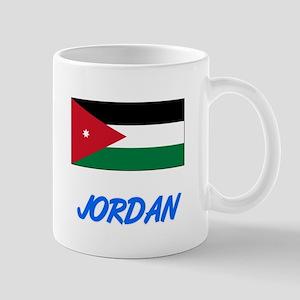 Jordan Flag Artistic Blue Design Mugs