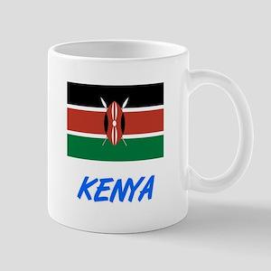 Kenya Flag Artistic Blue Design Mugs