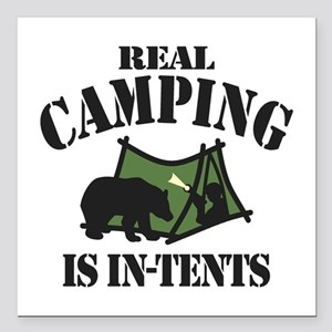 "Real Camping Square Car Magnet 3"" x 3"""