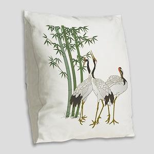 Crane & bamboo Burlap Throw Pillow