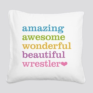 Awesome Wrestler Square Canvas Pillow