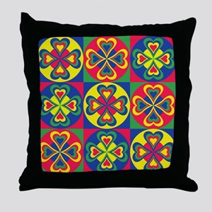 Folk Hearts Throw Pillow