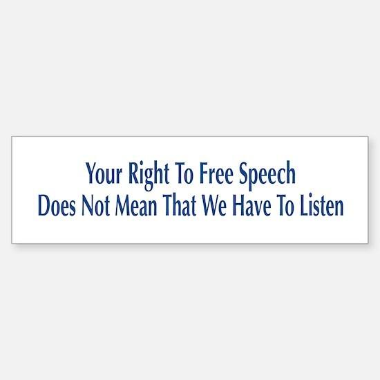 Right To Free Speech White Bumper Car Car Sticker