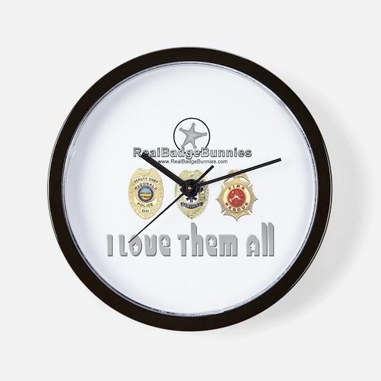 Badge Bunnies Love Them All Wall Clock