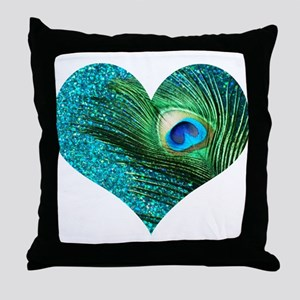 Aqua Peacock Heart Throw Pillow