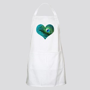Aqua Peacock Heart Apron
