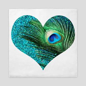 Aqua Peacock Heart Queen Duvet