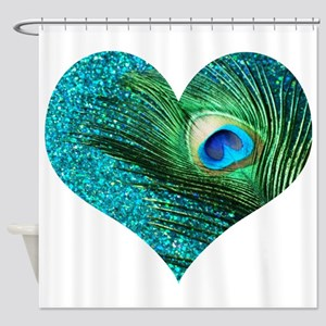 Aqua Peacock Heart Shower Curtain