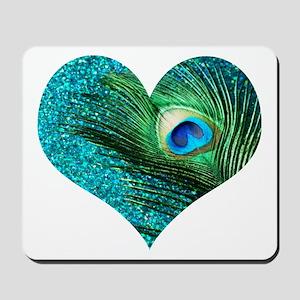 Aqua Peacock Heart Mousepad