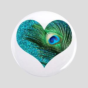 """Aqua Peacock Heart 3.5"""" Button"""