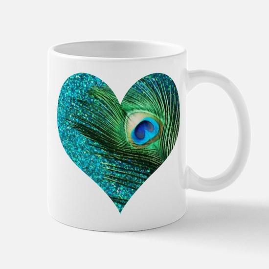 Aqua Peacock Heart Mug