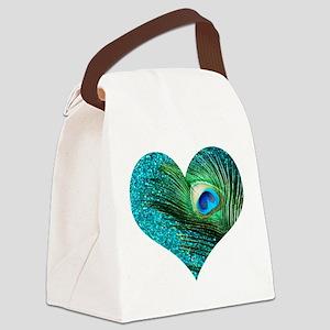 Aqua Peacock Heart Canvas Lunch Bag