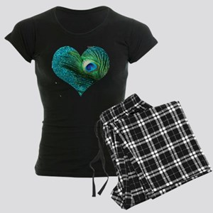 Aqua Peacock Heart Women's Dark Pajamas