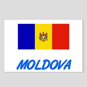 Moldova Flag Artistic Blu Postcards (Package of 8)