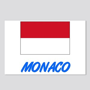 Monaco Flag Artistic Blue Postcards (Package of 8)