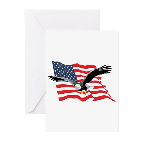 Bald Eagle and US Flag v2 Greeting Cards (Package