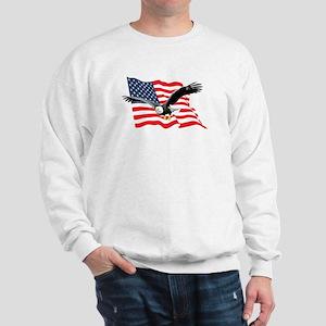 Bald Eagle and US Flag v2 Sweatshirt