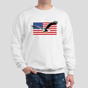 Bald Eagle and US Flag Sweatshirt