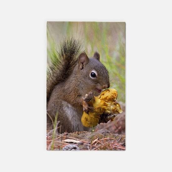 Happy Squirrel & Prized Mushroom Area Rug
