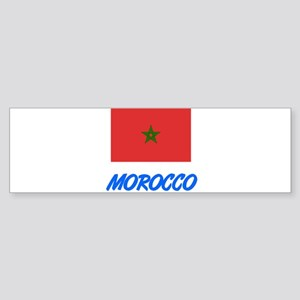 Morocco Flag Artistic Blue Design Bumper Sticker