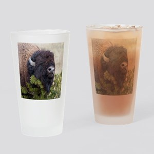 Christmas Bison Drinking Glass