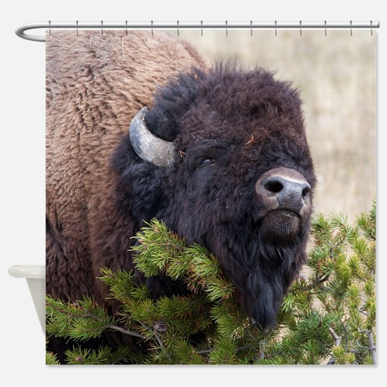 Christmas Bison Shower Curtain